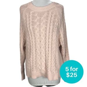 5/$25 - Aerie Cable Knit Pullover Sweater Pink S